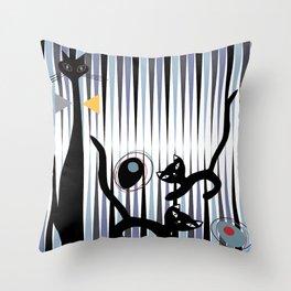 Mid-Century Modern Art - Cat & Kittens Throw Pillow