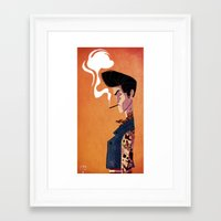 rockabilly Framed Art Prints featuring Rockabilly Boy by quentinschall