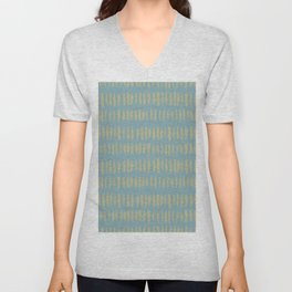 Earthy Green on Tranquil Blue Parable to 2020 Color of the Year Back to Nature Grunge Vertical Dash Unisex V-Neck