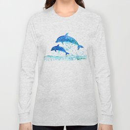 Dolphins, Blue dolphins, watercolor Long Sleeve T-shirt