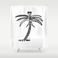 palm Shower Curtains featuring -PALM by It's Bananas Studio