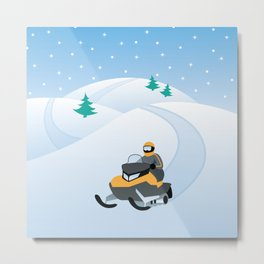 Snowmobiling on a Snowy Winter Day Metal Print