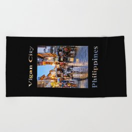 Rush Hour in Vigan City (on black) Beach Towel