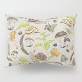 Woodland Snail in Watercolor Fungi Forest, Moss Green and Ochre Earth Animal Pattern Pillow Sham