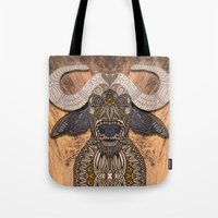 african Tote Bags featuring African Buffalo by ArtLovePassion