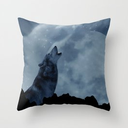 Wolf howling at full moon Throw Pillow
