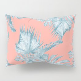 Dreaming of Hawaii Pale Teal Blue on Coral Pink Pillow Sham