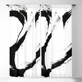 Brushstroke 6: a minimal, abstract, black and white piece Blackout Curtain