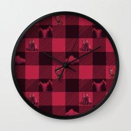 Fox and Bear Plaid #2 RED Wall Clock
