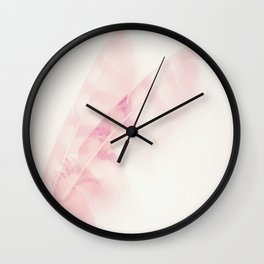 Pink feathers on a soft pastel background - beautiful and dreamy Wall Clock