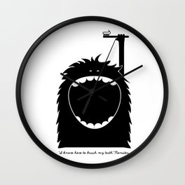 """""""I know how to brush my teeth"""" Monster Wall Clock"""