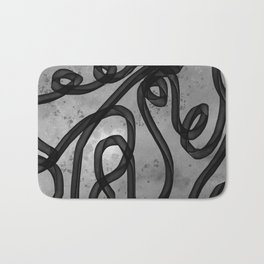 """Galactic Ribbon"" (Black & White) Digital Painting // Fine Art Print Bath Mat"