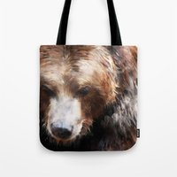 bear Tote Bags featuring Bear // Gold by Amy Hamilton