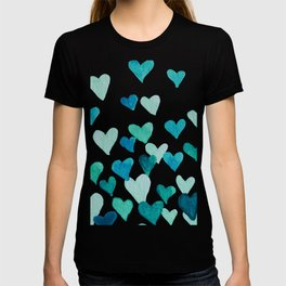 Valentine's Day Watercolor Hearts - turquoise T-shirt