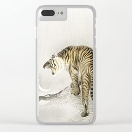 Koson Ohara - Roaring Tiger - Japanese Vintage Ukiyo-e Woodblock Painting Clear iPhone Case