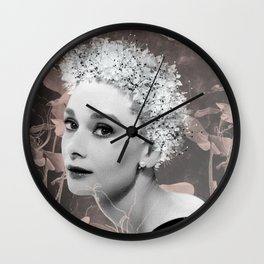 Audrey in White Wall Clock
