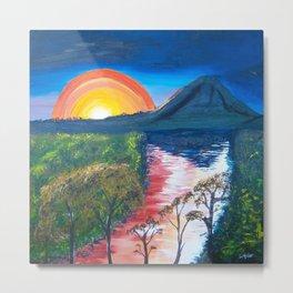 Brisbane River and Mt Crosby at Sunset Metal Print