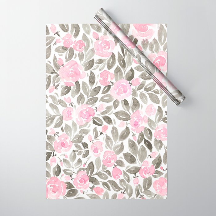 "Loose watercolor florals in pink and grey, ""Miriam"" Wrapping Paper"