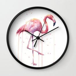 Pink Flamingo Portrait Watercolor Animals Birds | Facing Right Wall Clock