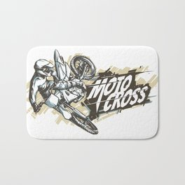 Motocross Woodcut Lineart #2 Bath Mat
