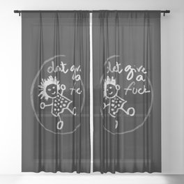 """""""Don't give a fuck - Little babe doodle"""" Sheer Curtain"""