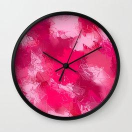 Cubist Valentines Pink Pattern Wall Clock
