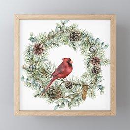 Cardinal Christmas Wreath, Floral Prints Framed Mini Art Print