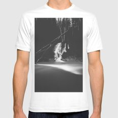 Minimalistic black and white waterfall Mens Fitted Tee White MEDIUM
