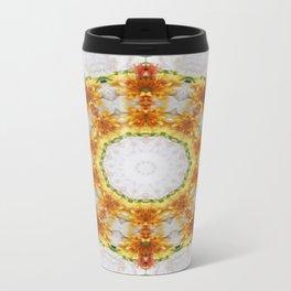 Gold Chrysanthemum Kaleidoscope Art 4 Travel Mug
