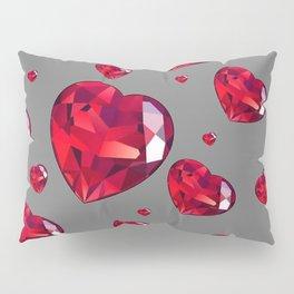 GREY ART RAINING RUBY RED VALENTINES HEARTS Pillow Sham