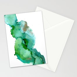 Alcohol Ink on yupo - Greens and Gold Stationery Cards