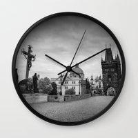 prague Wall Clocks featuring Prague by Johannes Valkama