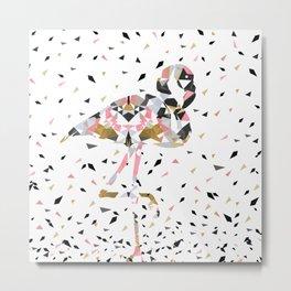 Cute geometric Flamingo abstract design Metal Print