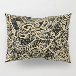 Elegant gold black hand drawn floral lace pattern  Pillow Sham