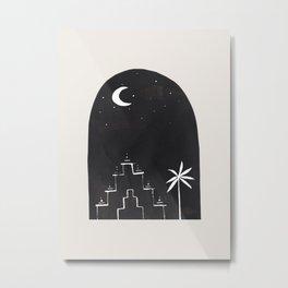Minimalist Modern Mid Century Black Ink Line Drawing Moon Aztec Ruins Fantasy by Ejaaz Haniff Metal Print