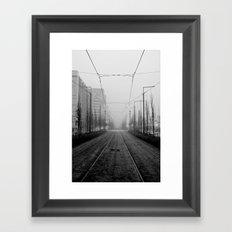 Foggy tramtracks Framed Art Print