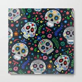 Dia de los Muertos Calaveras/Sugar Skulls Metal Print