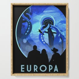 Europa Space Travel Retro Art Serving Tray