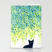 garden Stationery Cards featuring Cat in the garden under willow tree by Picomodi