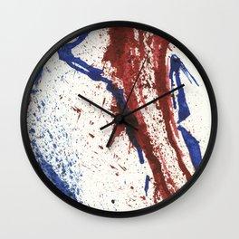 BLUE / RED SPLATTER ART Wall Clock