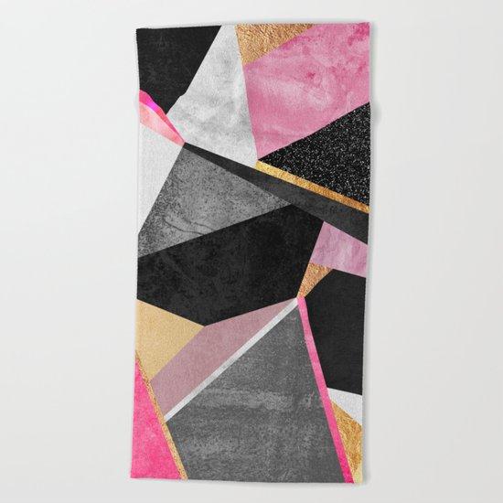 Geometry / Pink Beach Towel