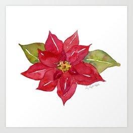 Watercolor Red Poinsettia Flower, Holiday Decor, Christmas Decor, Art Print