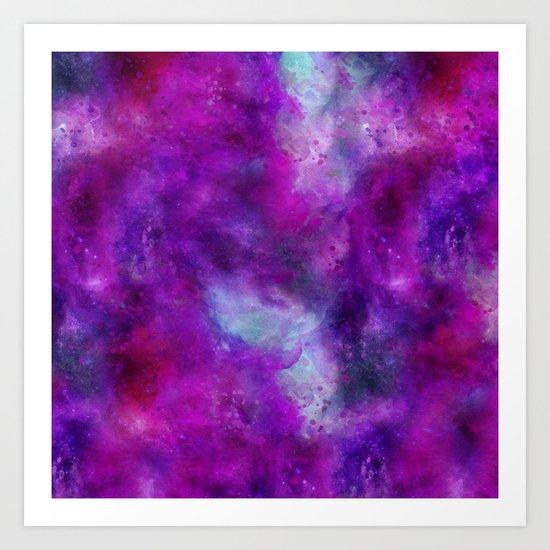 Purple Pink Blue Watercolor Art Print