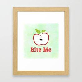 Red Apple Illustration - Bite Me Typography Framed Art Print
