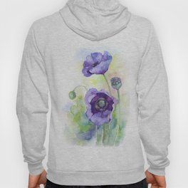 Watercolor blue poppy flowers Hoody