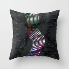 Wavy line colorful Throw Pillow