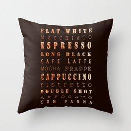 Coffee Types Poster Throw Pillow