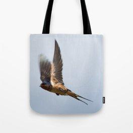Male barn swallow in flight Tote Bag
