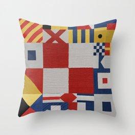 The Nautical Flag Signals Throw Pillow