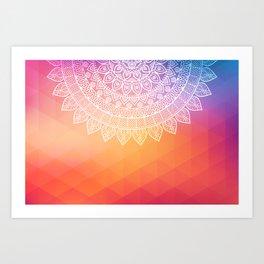 colorful indi pattern, boho print, peach white, henna, beautiful boho, bright popular design Art Print